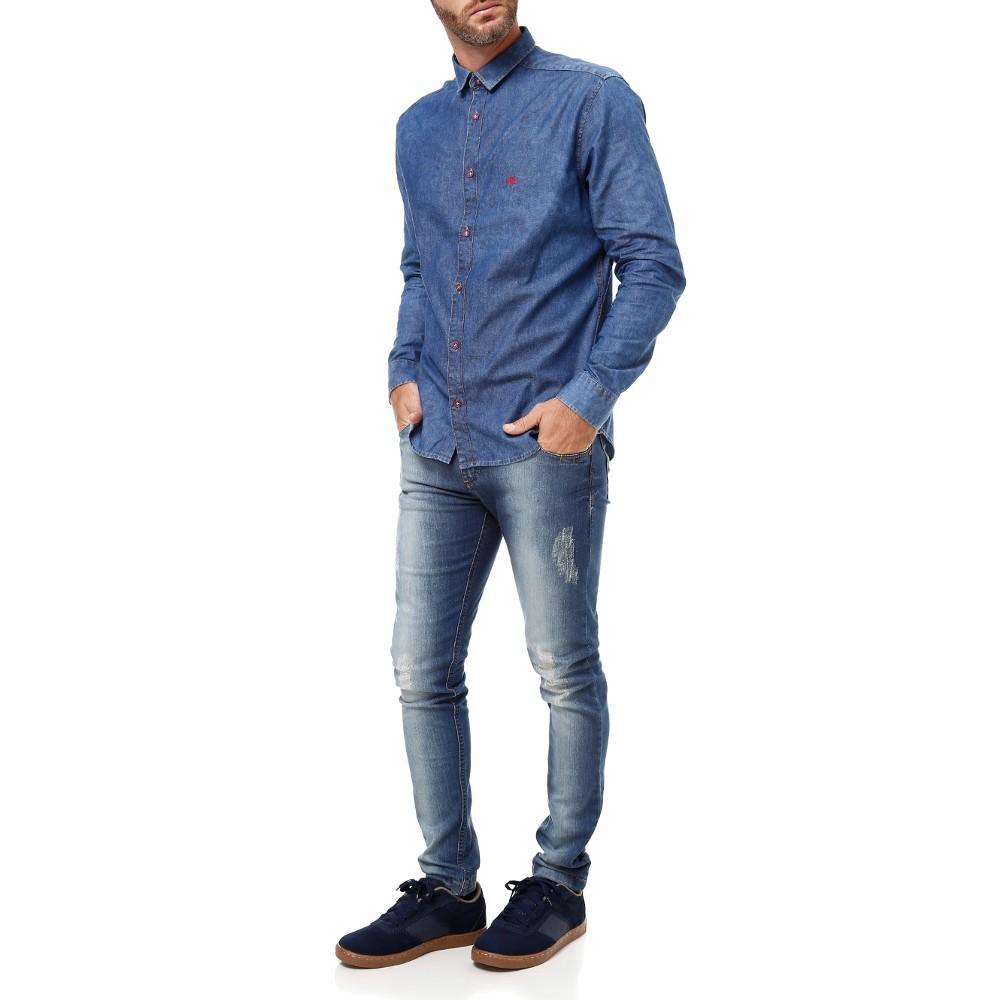 Camisa Jeans Lojas Pompéia: Jeans com Jeans