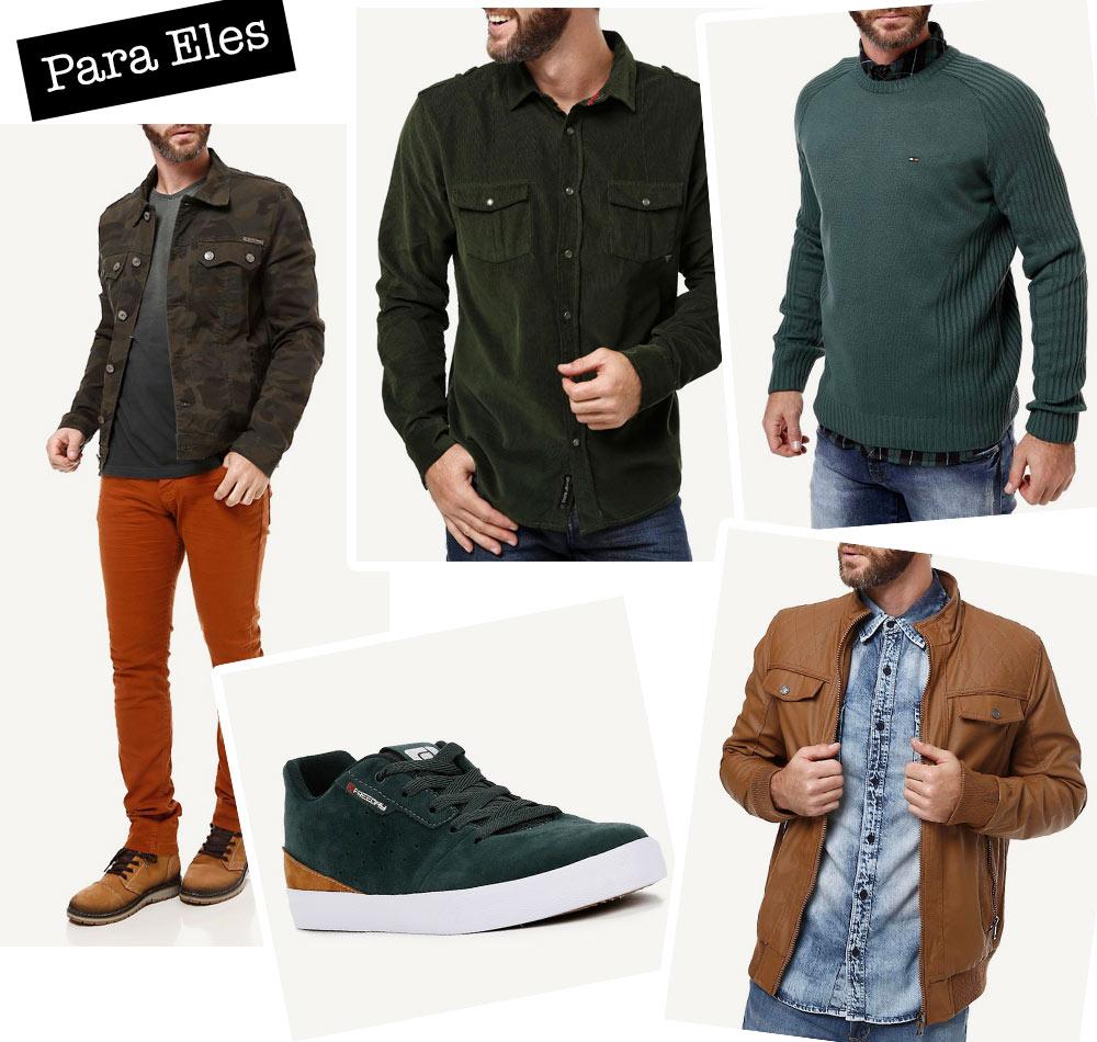 Verde e cáqui em looks masculinos - Lojas Pompéia