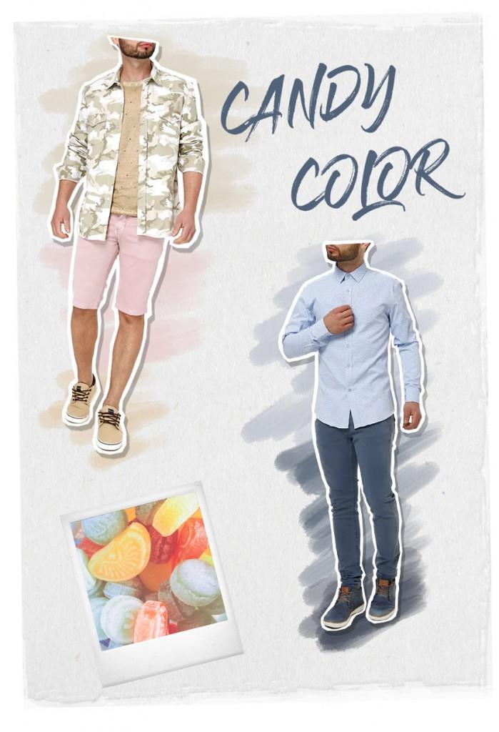 Tendencia Masculina Candy Color - Lojas Pompéia