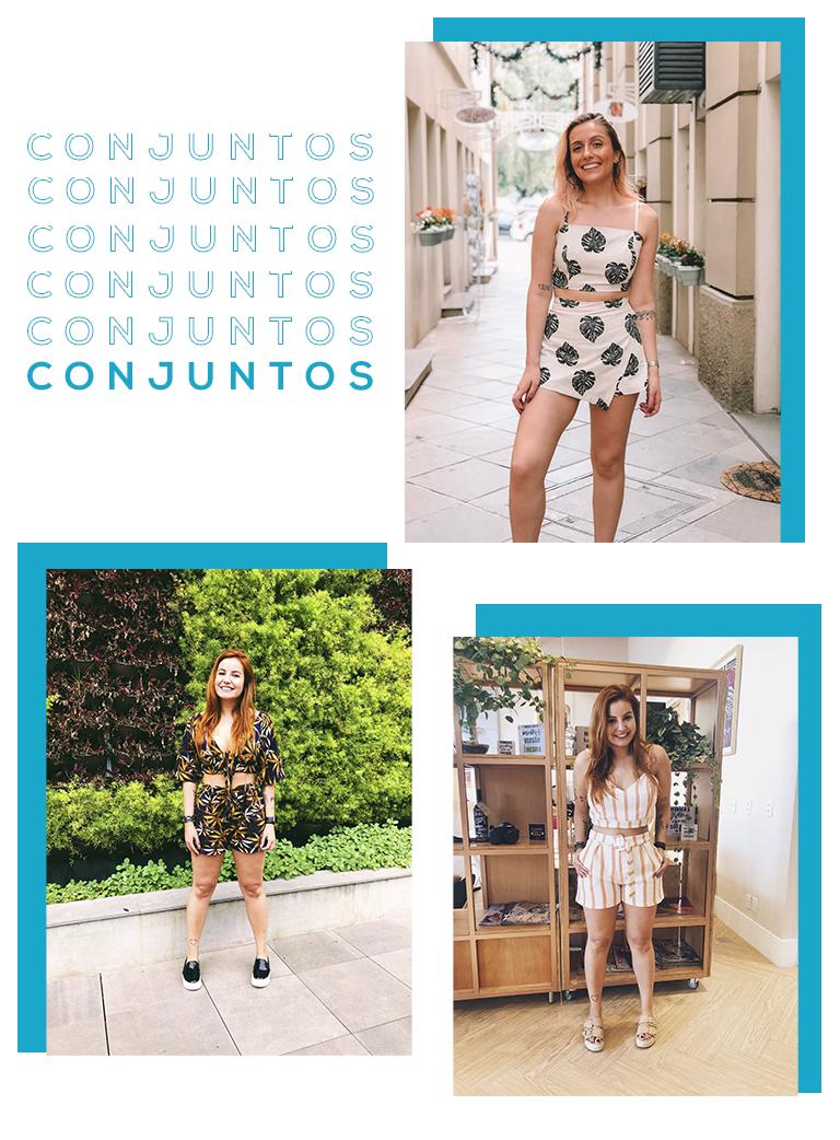 Montagem com três fotos de influencers usando conjuntinhos, uma das principais tendências de 2018