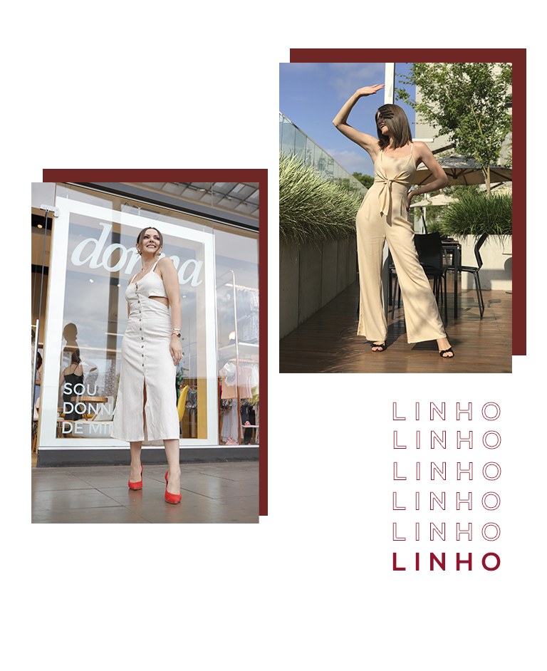 Montagem com duas fotos clicadas em ambiente externo com duas influencers usando looks em linho, tecido que foi uma das últimas tendências