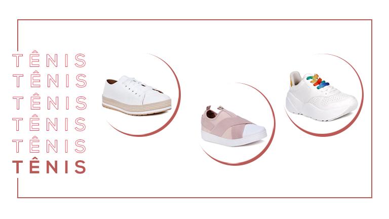 Montagem com três modelos diferentes de tênis que são tendências