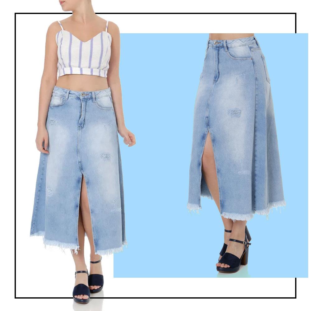 saias jeans lojas pompéia