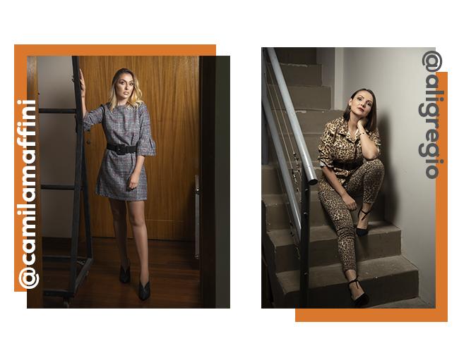 O post é uma montagem com duas fotos do backstage do Papo Fashion. Na primeira, temos Camila Maffini com vestido xadrez e, depois, Aline Gregio com look em animal print, usando jaqueta e calça.