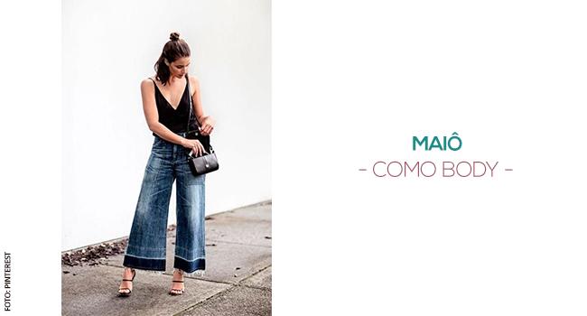 o post é uma montagem. temos uma modelo usando pantacourt jeans com sandálias e body preto.