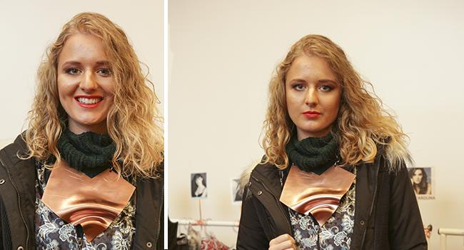 o post é uma montagem com duas fotos clicadas no backstage do nosso desfile de outono inverno. nas duas, temos diferentes ângulos de uma modelo usando blusa, casaco e rola em verde escuro.