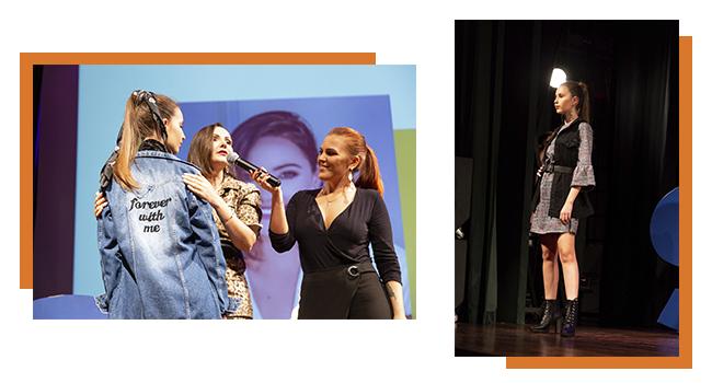 Na foto, clicada no Papo Fashion, temos Aline Gregio e a consultora de moda da Pompéia compondo um look e, ao lado, uma modelo usando vestido xadrez com colete.