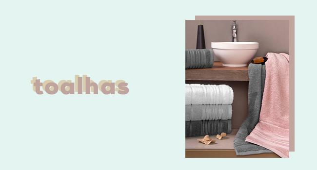 """casa fashion: o post traz toalhas de rosto coloridas dispostas em um balcão de banheiro. ao lado, temos o lettering """"toalhas""""."""