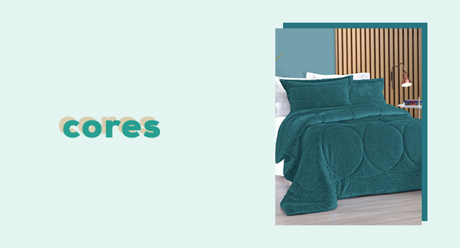 """casa fashion: na foto temos um quarto ambientado com edredom na cor verde. ao lado, temos o lettering """"cores""""."""