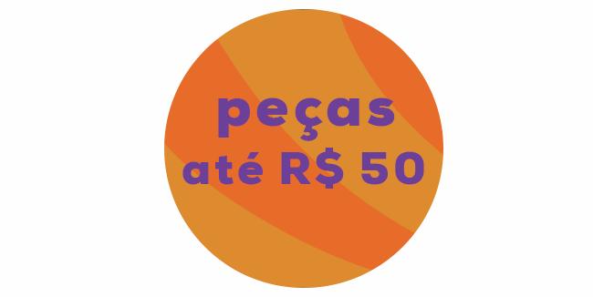 """liquida verão: o post é uma montagem com o lettering """"peças até R$ 50"""""""