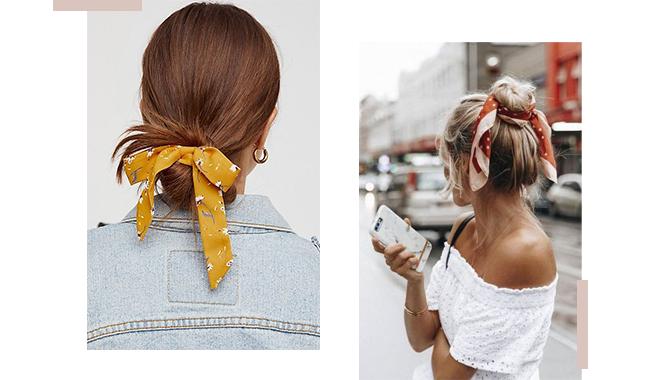 A imagem é uma montagem com duas fotos de modelos usando coques e lenços coloridos no cabelo.