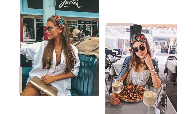 A imagem é uma montagem com duas fotos de modelos. As duas estão usando seus cabelos soltos com um lenço estampado complementando o visual.