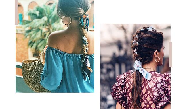 A imagem é uma montagem com duas fotos de modelos, de costas, com tranças no cabelo e lenços.