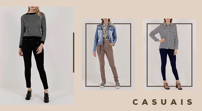 """O post é uma montagem com três fotos com temática de Dia das Mães de uma modelo usando looks diferentes. Da esquerda para a direita, a primeira está vestindo calça preta em sarja e tricot, no centro, a modelo veste calça bege, camisa animal print e jaqueta jeans com pele fake na gola. Na direita, uma modelo usa calça jeans e camisa p&b com listras verticais. No lado inferior direito, temos o lettering """"casual""""."""