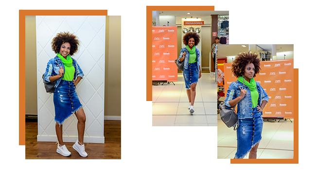 O post é uma montagem com três fotos diferentes de uma modelo usando o mesmo look. Ela está vestindo saia jeans com barra assimétrica, blusa neon e jaqueta jeans.