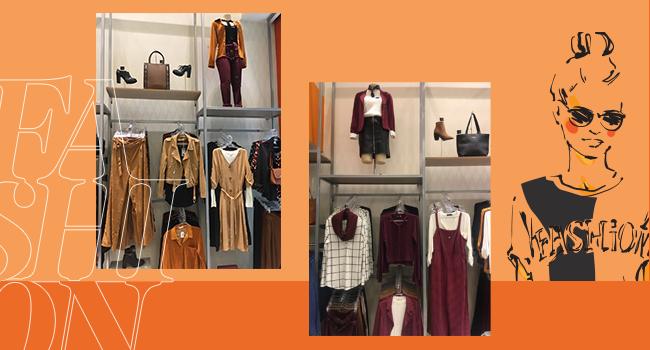 O post é uma montagem, em fundo laranja, com duas fotos clicadas internamente na loja Pompéia do Canoas Shopping. Temos as araras da loja no destaque.