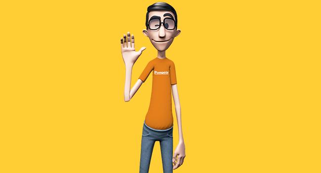 O post é uma montagem. Em fundo amarelo, temos Hugo, intérprete virtual do site da Pompéia. Ele está usando calça jeans e camiseta laranja.