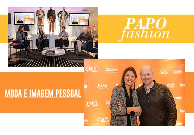 O post é uma montagem com duas fotos. Primeiro, temos o ambiente interno da loja preparado para o Papo Fashion. Logo abaixo, os convidados da noite, Neca Gonzaga e Nelson Zimmer.