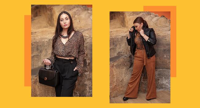 O post é uma montagem com duas fotos clicadas do Papo Fashion. Da direita para a esquerda, a primeira modelo usa jaqueta, body animal print e calça pantalona em veludo. Na esquerda, a outra modelo usa calça em alfaiataria com cropped animal print.