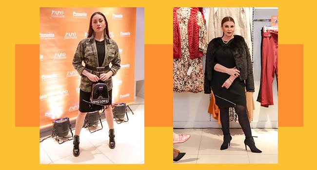 O post é uma montagem com duas fotos clicadas no Papo Fashion. A primeira modelo, na direita, usa vestido em tricô preto e casaco com pelúcia fake. Ao lado, a outra modelo usa o mesmo vestido com maxi jaqueta camuflada.