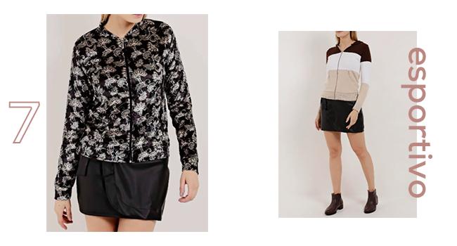 O post é uma montagem com duas fotos. Na primeira, ao lado esquerdo, uma modelo usa saia preta e jaqueta em veludo. Na direita, outra modelo usa saia preta e casaco esportivo em branco, marrom e bege.