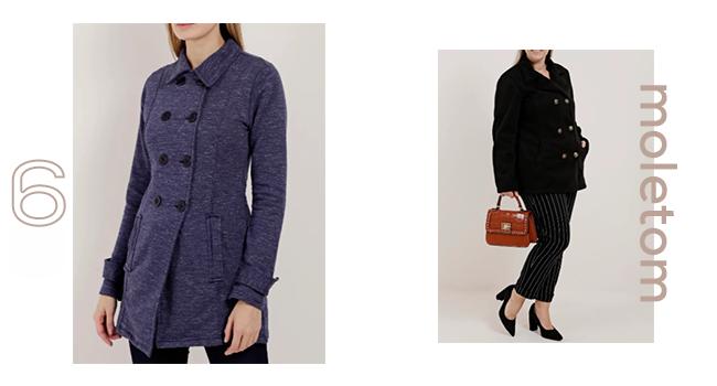 O post é uma montagem com duas fotos clicadas em estúdio. No lado esquerdo, uma modelo usa casaco alongado de moletom na cor azul marinho e, na direita, outra modelo veste calça preta e casaco em moletom, também na cor preta.