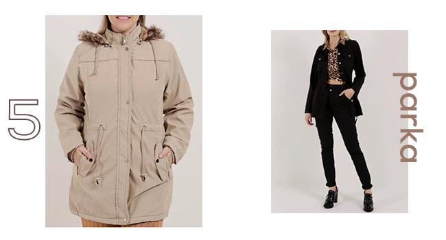 O post é uma montagem com duas fotos, Na esquerda, uma modelo usa parka bege e, na direita, outra modelo usa calça preta., blusa com estampa animal print e jaqueta parka preta.
