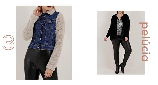 O post é uma montagem com duas fotos clicadas em estúdio. Da esquerda para a direita, uma modelo está usando jaqueta com mangas peluciadas e jeans e, ao lado, outra modelo veste blusa com estampa animal print, calça e jaqueta com pelúcia fake na cor preta.