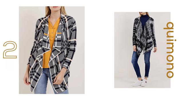 O post é uma montagem com duas fotos clicadas em estúdio. Nas duas fotos, as modelos estão usando calça jeans combinada com quimono. Um deles é xadrez e outro com estampa animal print.