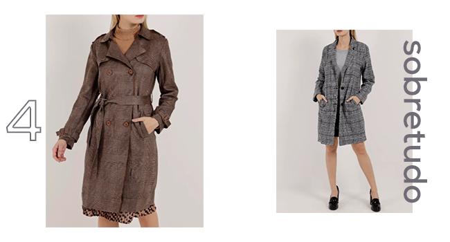 O post é uma montagem com duas fotos clicadas em estúdio. Nas duas, as modelos estão usando casacos sobretudo com estampa xadrez.