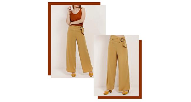 O post é uma montagem com duas fotos de uma modelo usando o mesmo look. Ela veste pantalona amarela e blusa laranja,