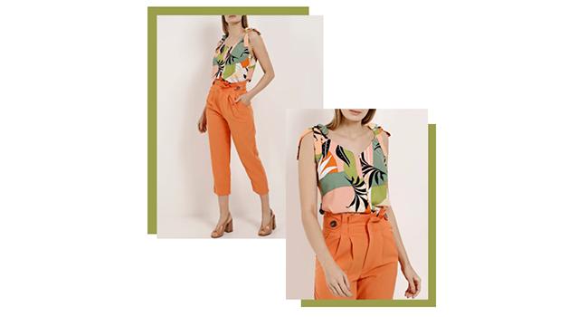 O post é uma montagem com duas fotos de uma modelo usando o mesmo look. Ela usa calça laranja de tecido combinada com regata floral.