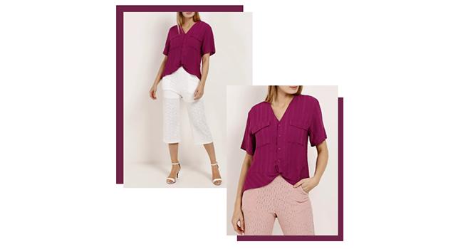 O post é uma montagem com duas fotos de uma modelo usando o mesmo look. Ela veste pantacourt branca com transparências e camisa roxa.