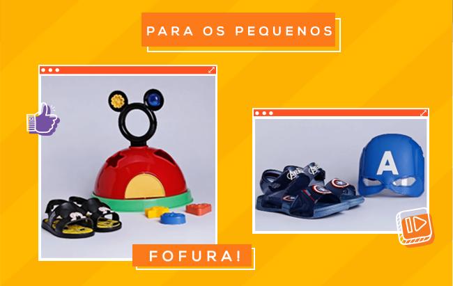 """O post é uma montagem. Em fundo amarelo, temos dois modelos de calçados infantis com brindes. Na parte superior, temos o lettering """"para os pequenos""""."""