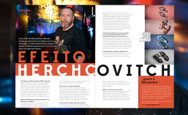 O post é uma imagem de duas páginas da Revista Pompéia com uma entrevista com o estilista Alexandre Herchcovitch.