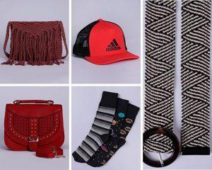 A foto é montagem com 5 imagens, de acessórios. 2 bolsas femininas, um bonê, um kit de meias masculino e um conto feminino.