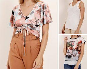 A imagem é uma montagem de 3 fotos, todas com blusas femininas.