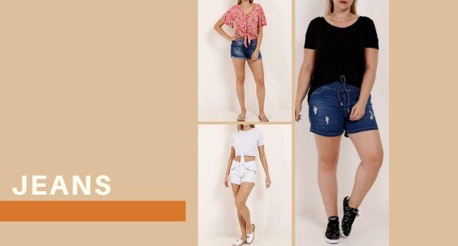 """O post é uma montagem com três fotos de modelos usando diferentes looks. Uma delas usa short jeans com blusa estampada rosa, outra modelo usa short jeans com blusa básica preta e uma terceira modelo veste short branco com aplicações e camiseta branca básica com nó frontal. Na lateral esquerda temos o lettering """"jeans""""."""