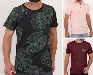 A imagem é uma montagem de 3 fotos de camisetas e polos masculinas.