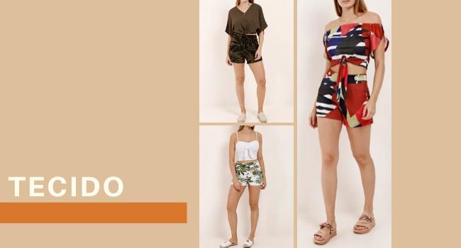 """O post é uma montagem. Temos três fotos de modelos usando shorts estampados de tecido. Na lateral esquerda, temos o lettering """"tecido""""."""