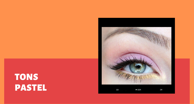 """O post é uma montagem com uma foto de um olho maquiado no detalhe. No lado esquerdo na imagem temos o lettering """"tons pastel""""."""