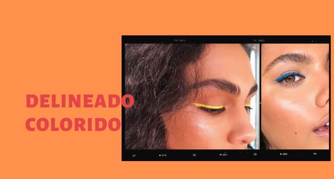 """O post é uma montagem com duas fotos de maquiagem no detalhe. No lado direito, temos um lettering """"delineado colorido""""."""