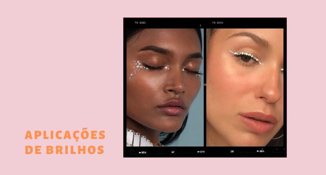 """O texto é uma montagem com duas fotos de maquiagens no detalhe. No lado esquerdo temos o lettering """"aplicações de brilhos""""."""